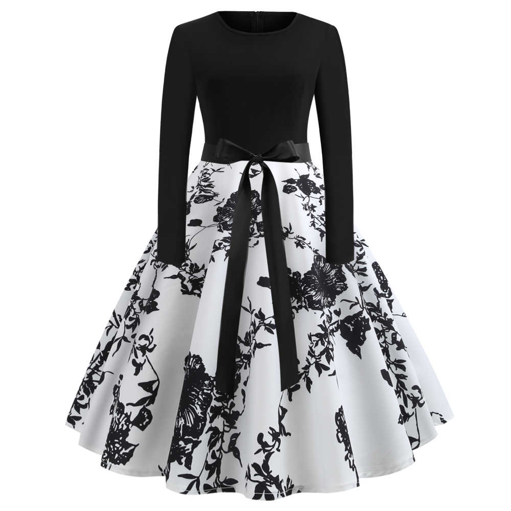 Joineles Cotton Daily Casual Women Dress Black White Floral Print Long  Sleeves Spring Summer Retro Vintage Dress Female Vestidos