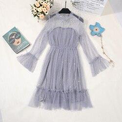 2019 wiosna kobiety Sukienka z cekinami festiwal długie rękawy jednolity kolor Lolita Sukienka elegancka Sukienka na imprezę Sukienka Damska bajan Elbise 2