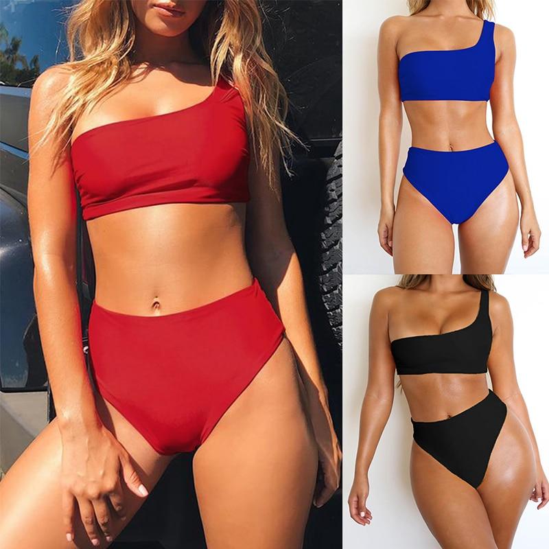 One shoulder top sexy bilkini micro High waist swimwear women Bandeau swimsuit female red bathing suit Summer 2019 New