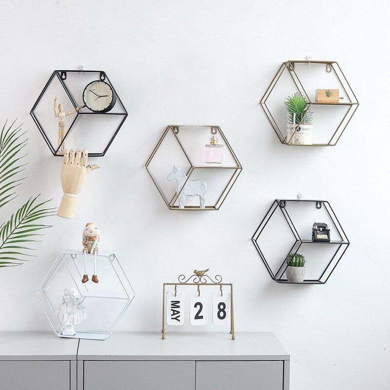 Fer hexagonal Grille murale étagère Combinaison Wall Hanging figure géométrique mur