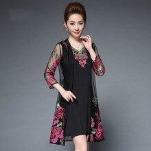 купить Middle Age Women Summer Dress 2019  Vintage Floral Embroidery Two Piece Dress Plus Size Elegant Fashion Party Dresses Vestidos по цене 2591.18 рублей