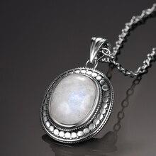 10x12 мм большой натуральный лунный камень 925 пробы серебряные ювелирные изделия кулон ожерелье с цепочкой для женщин Винтаж юбилей вечерние подарки