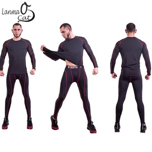 Image 3 - Lanmaocat Sportkleding Voor Mannen Fitness Jersey Shirt Custom Logo Print Mannen Bodybuilding Compressie Kleding T shirt Gratis Verzending