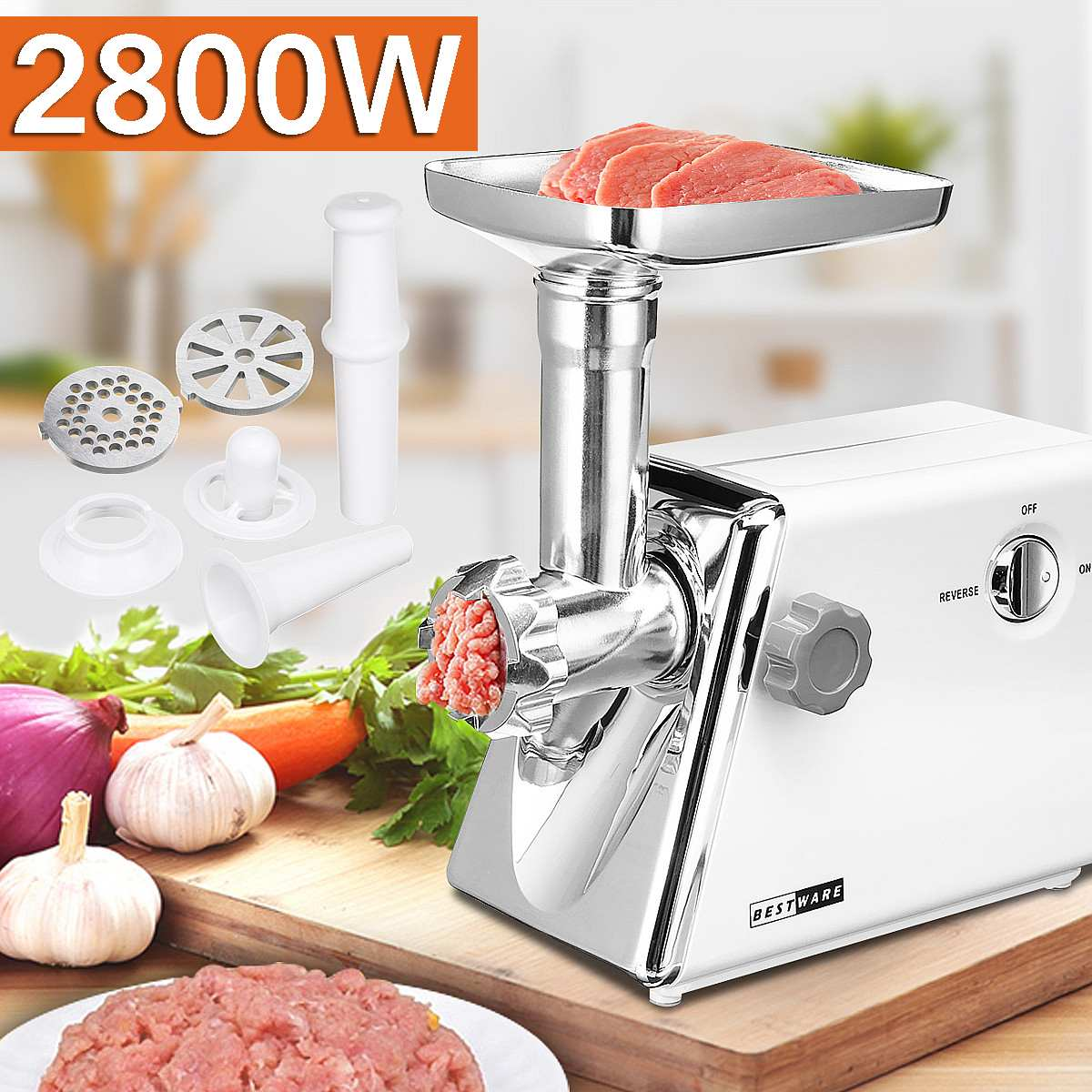 Multifunction 2800W 220V 240V Electric Meat Grinder Sausage Machine Mincer Kitchen Tool 15x34x33cm Three Grinding Plates|Meat Grinders| |  - title=