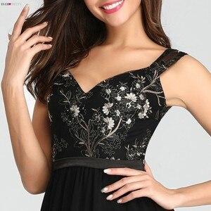 Image 5 - בציר אפליקציות שחור ערב שמלות ארוך פעם די EZ07783BK סקסי צווארון V שרוולים ספגטי רצועת פורמליות שמלות 2020