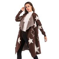 2018 Autumn And Winter Knit Jacket Star Pattern Loose Sweater Female Brown Long Coat