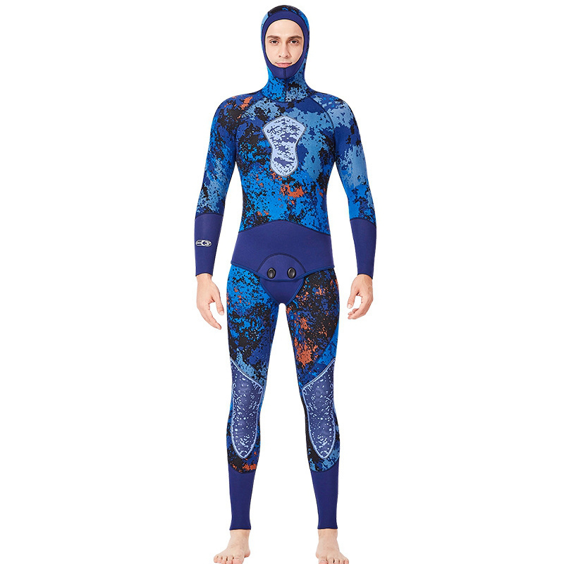 DIVE&SAIL Men Scr Neoprene Blue Wetsuit Jumpsuit And Jacket Set Freediving Spearfishing Diving Suit Snorkel Super Elastic SurfDIVE&SAIL Men Scr Neoprene Blue Wetsuit Jumpsuit And Jacket Set Freediving Spearfishing Diving Suit Snorkel Super Elastic Surf