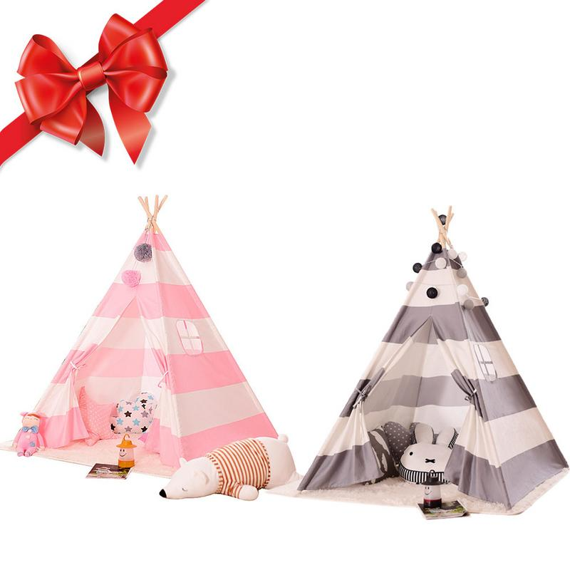 Kids Play Tent Cotton Canvas Teepee Children Toy Tent Cherokee Playhouse Indian Baby Room Stripe Color Playhouse