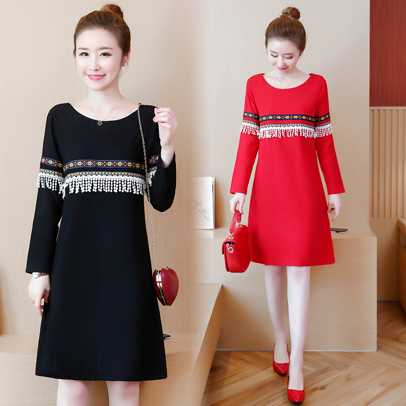 5XL Nitree Casual Dress Women 2019 Spring New Women's Dresses Long Sleeve O-neck Loose Dress Plus Size Cute School Dress Red
