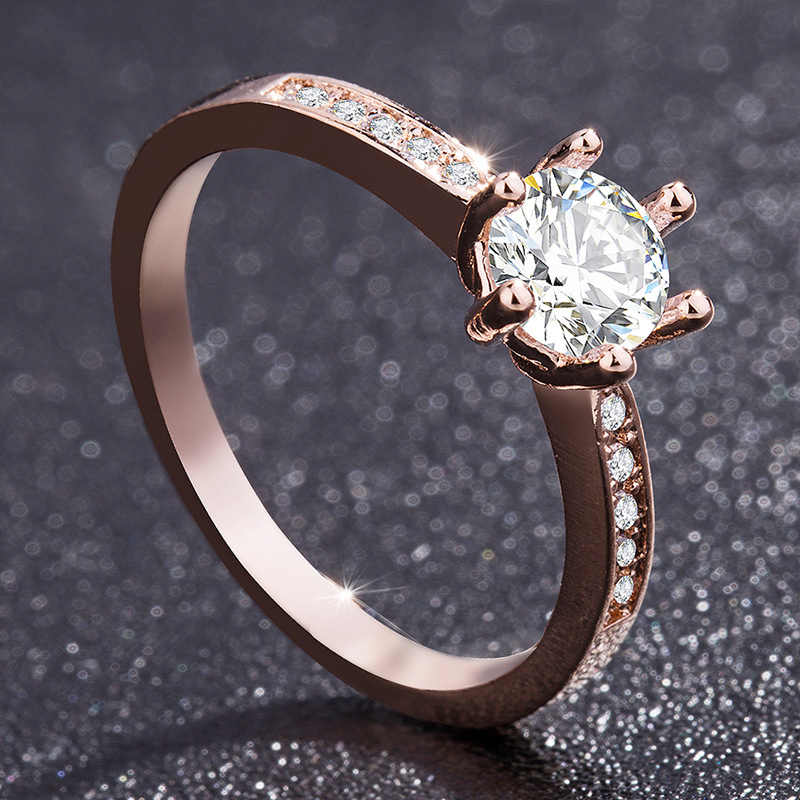 LNRRABC זירקון אירוסין טבעת דוגמניות רוז זהב חתונת טבעת דוגמניות תכשיטי קריסטל באיכות גבוהה