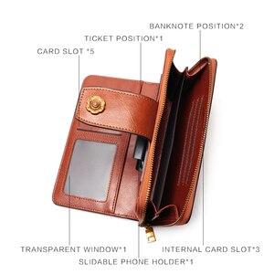 Image 5 - Женский кошелек, деловой клатч из натуральной кожи, съемный браслет кошелек, скользящая многофункциональная сумка с зажимом для телефона
