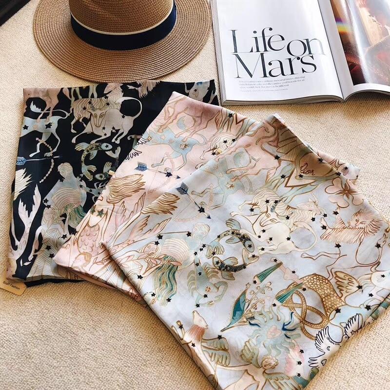 New Fashion Silk Scarf Summer Tarot Card Women Constellation Brand Design Long Shawls Wraps Lady Brand Design Foulard 180*90cm