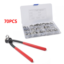 70PCS Single Ear Hose Clamp and Tool Set Stainless Steel Pliers Pincer