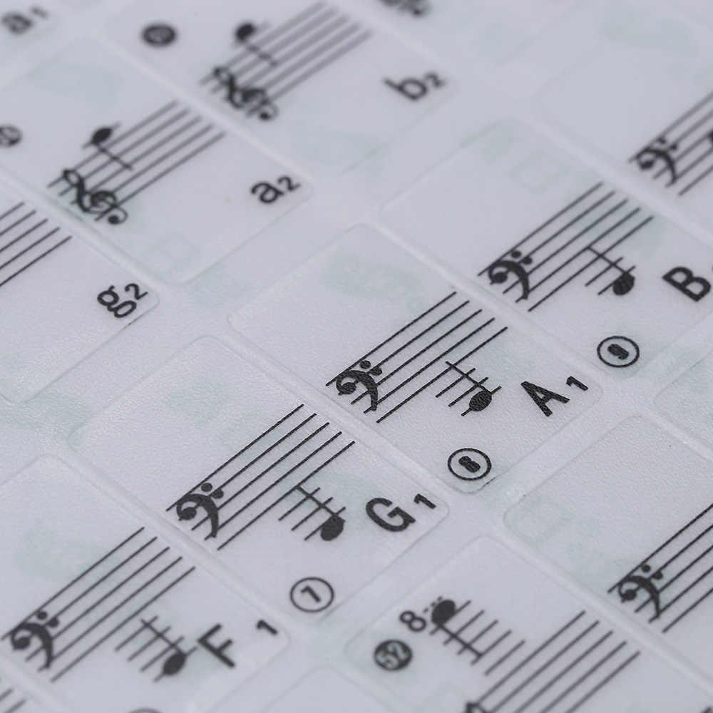 פסנתר מדבקה שקוף פסנתר מקלדת מדבקת 49 61 מפתח אלקטרוני מקלדת 88 מפתח פסנתר להדוף הערה מדבקת לבן מפתחות