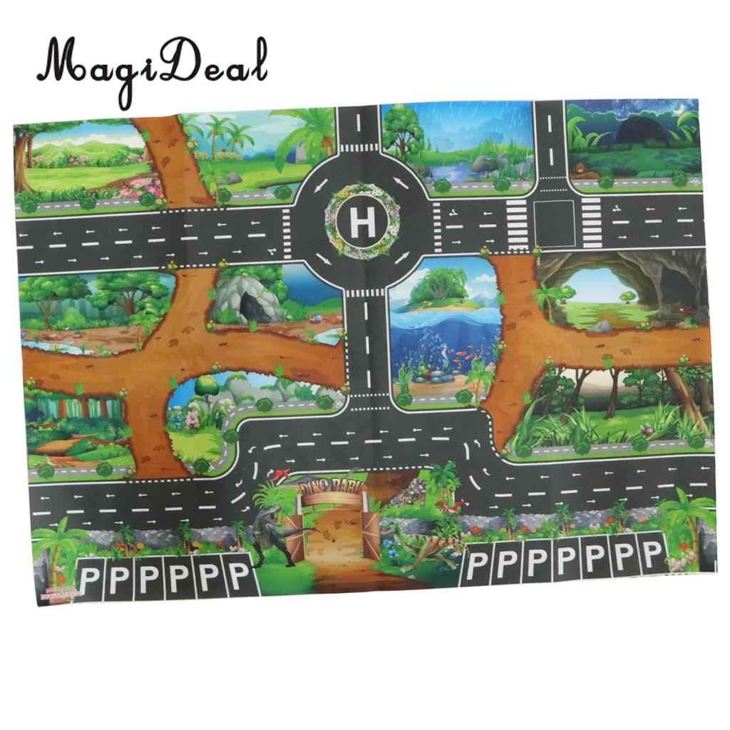 Kids Dinosaur World Road Verkeer Spelen Mat Tapijt Speelgoed Tapijt Playmat Baby Kinderen Developmental Auto & Spoor Speelgoed Geschenken # B