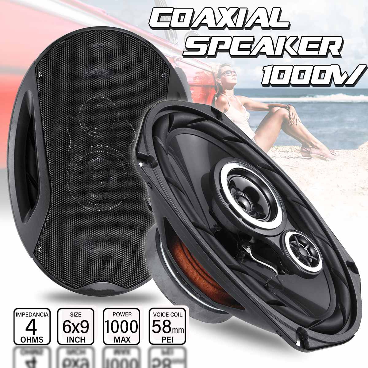 2pcs 1000W Max 12V High Resolution Universal Car Speaker 6x9 inches Coaxial Speakers Vehicle Auto Audio Music Stereo Full HiFi