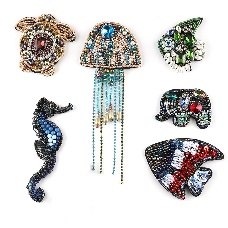 Underwater world Sew-on Sea turtle Patches Badges Crystal Beads Appliques wholesale Jellyfish Patches T-shirt Diy Bags Decor(China)