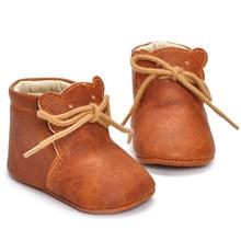 Из искусственной кожи детская обувь для младенцев для маленьких мальчиков ботинки для девочек на мягкой подошве детские пинетки коричневый
