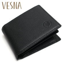 Genuine Leather Wallet Men Promotion Excellent Cow Black For Office Mens Vintage Wallets