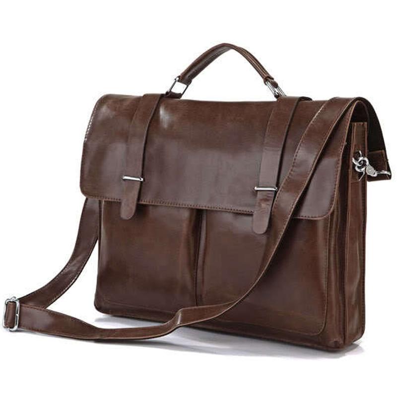 Moda prawdziwej skóry mężczyzna teczki torba biurowa torba skórzana torba na ramię mężczyźni teczki na laptopa torebka na ramię w Teczki od Bagaże i torby na  Grupa 1