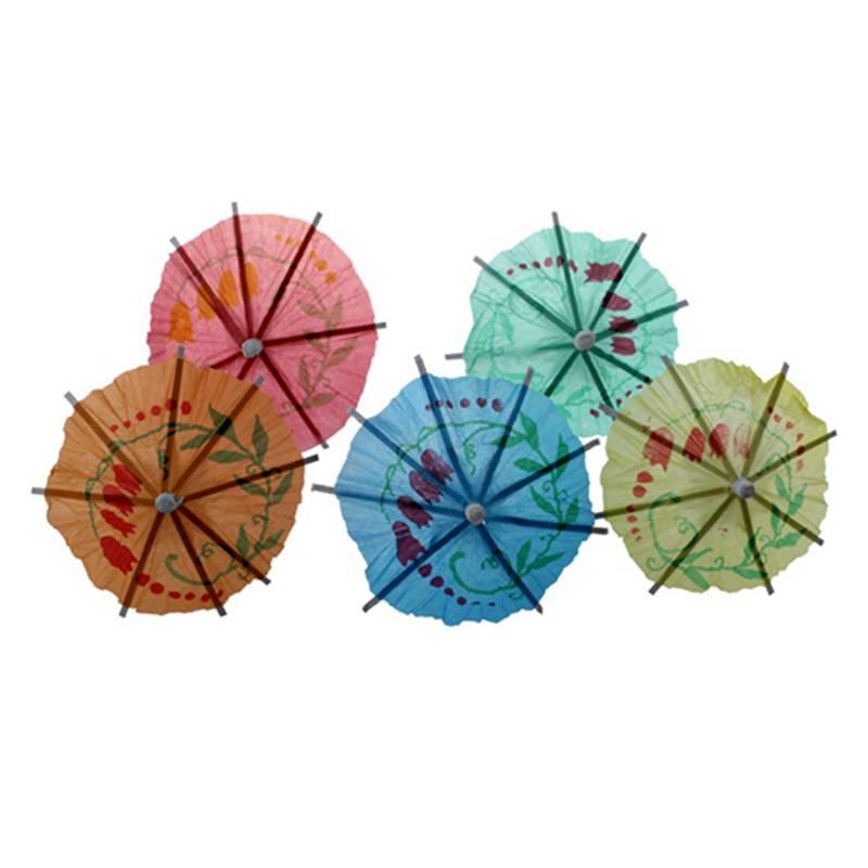50x/lot Mariage Cocktail Boissons Fête Bâtons Papier Parasol Parapluie