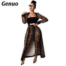 Genuo Leopard Print Women Two Piece Set Full Sleeve Extra Long Cardigan with Sashes and Pencil Pants Night Coat Suit Outfits