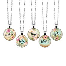 2019 Wish Believe Hope Faith Love Dream Bible Verse Necklace Glass Dome Pendant Necklaces Scripture Quote Jewelry Christian Gift god is within her he will not fall bible verse quote necklace scripture necklace glass cabochon silver pendant christian gift