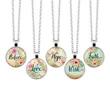 2019 Wish Believe Hope Faith Love Dream Bible Verse Necklace Glass Dome Pendant Necklaces Scripture Quote Jewelry Christian Gift(China)