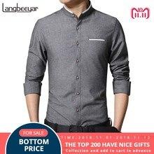 038e5458c5c Новая мода Повседневное Для мужчин рубашка с длинным рукавом  воротник-стойка рубашка узкого кроя Для мужчин корейский Бизнес Для..