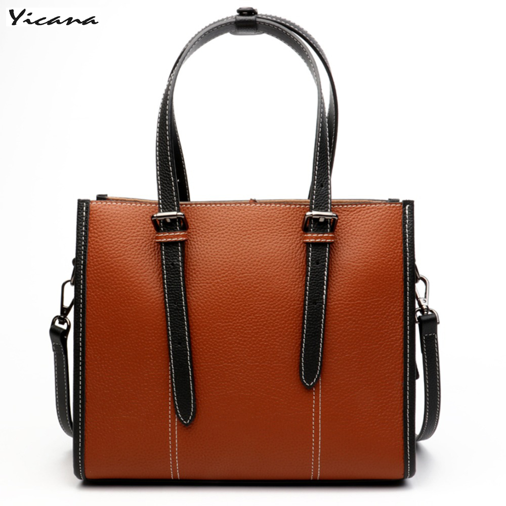 Yicana 2018 new style  4 colors 100% Genuine Leather Totes Handbags Vintage Style  Womens bagYicana 2018 new style  4 colors 100% Genuine Leather Totes Handbags Vintage Style  Womens bag