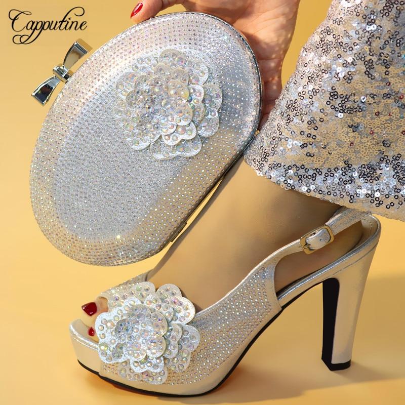 Capputine offre spéciale Italien chaussures pour femmes Et ensemble de sacs Fasion Élégante escarpins avec strass 11.3 CM Chaussures Et ensemble de sacs Pour robe de mariage