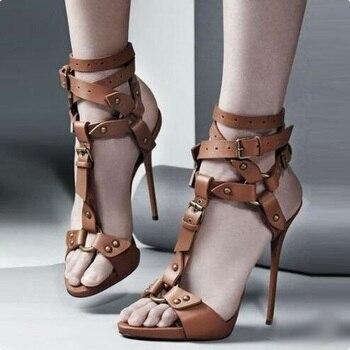 Sexy Stiletto High Heels Women Sandals T-bar Rivet Studded Platform Sandals Buckle Strap Gladiator Sandals Women Zapatos Mujer фото