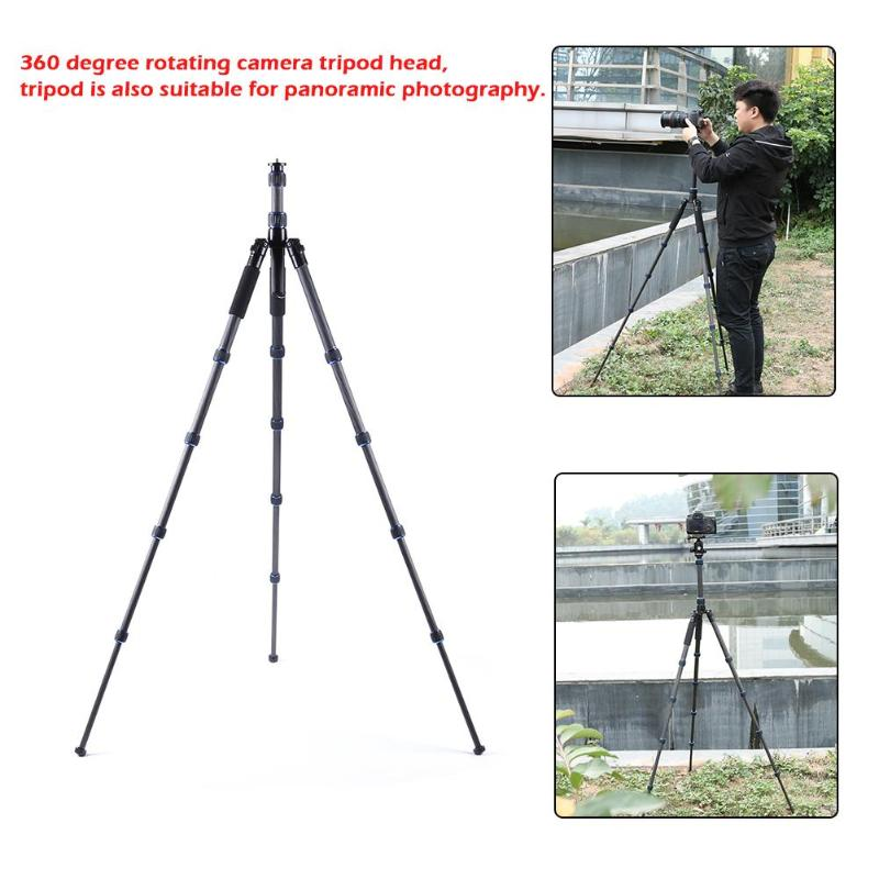 Portable Proffessional Carbon Fiber 5-Section Foldable Travel Tripod Extendable Monopod Stand Holder For Digital SLR Cam Camera