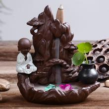 Little Monk Backflow Incense Holder Smoke Waterfall Incense Burner Holder Ceramic Rockery Censer Mountain River Handicrafts little monk incense burner smoke waterfall backflow incense holder carp ceramic censer mountain river handicrafts incense holder