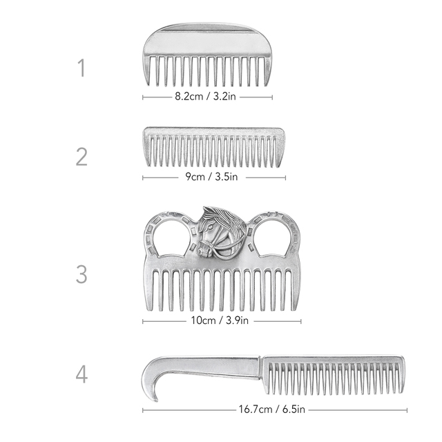"""Genuine Horse Comb Aluminum Alloy Horse Cleaning Tool Mane Tail Pulling Combs Grooming Equipment Horse Care Accessories 3.2-6.5"""" 1"""