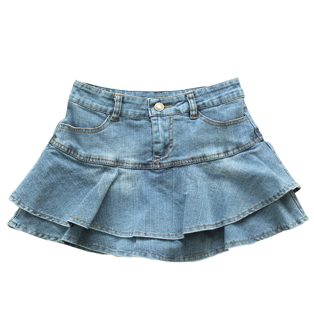 Ruffle Pleated Skirts Womens 2021 Summer Low Waist A Line Y2K Denim Skirt Sexy Mini Short Skirts Women Sex Jeans Woman Skirts 1