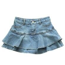 2020 Summer Low Waist A Line Denim Skirt Women Sexy Pleated Mini Jeans Skirts Korean Style Casual Faldas Mujer