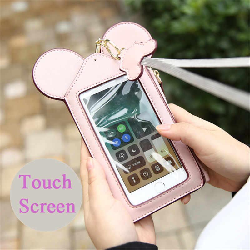 AEQUEEN 2019 かわいいマウス女性カード財布電話ストラップ Pu レザーパスポートカードホルダーコイン財布ネック袋女性ボルサ