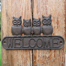 Cast Iron Antique Style four owls WELCOME Plaque Garden Sign Wall decor