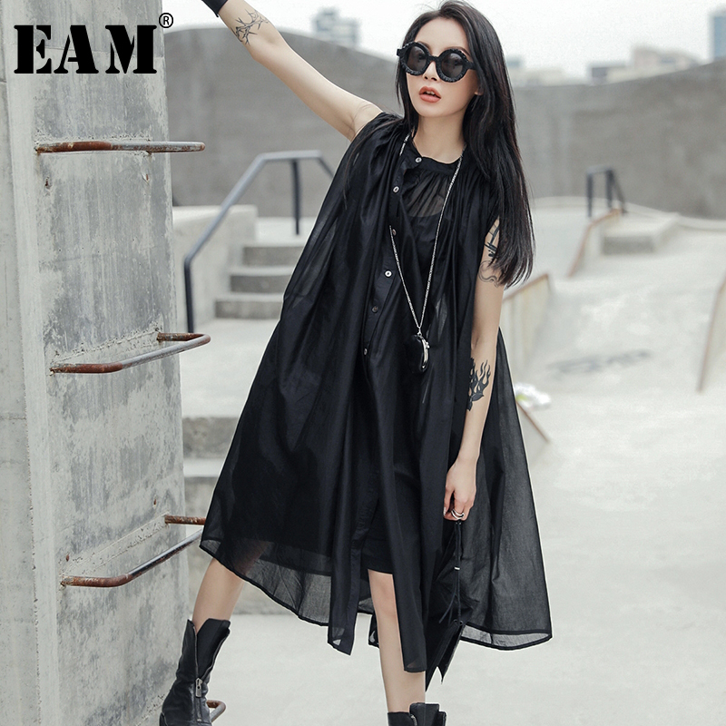 [EAM] 2020 New Spring Summer Stand Collar Sleeveless Black Perspective Loose Thin Big Size Dress Women Fashion Tide JU444