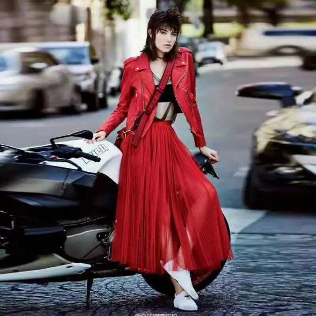 Bright black Étoiles Lâche Style Red Femmes Locomotive D'hiver Pu Court Vêtements Revers Manteau Cuir En qw6xB17w
