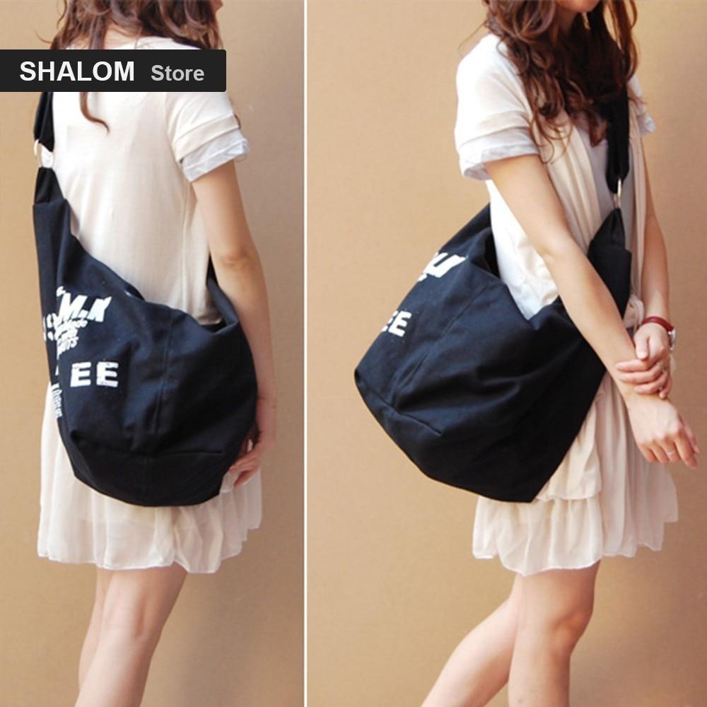 Black Korean Over Shoulder Bags Irregular Canvas Crossed Body Crossbody Handbags Bag Ladies Messenger Bags Fashion