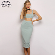 Parthea Summer Bodycon Sexy Dress 2 Piece Women Resort Style Knitted Casual Dress Long 2019 Vintage Button Ribbed Robe Femme New lettuce edge trim button front ribbed dress
