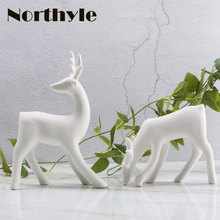 Dream House DH white ceramic reindeer figurine porcelain art craft christmas reindeer decoration xmas miniaturas christmas gift