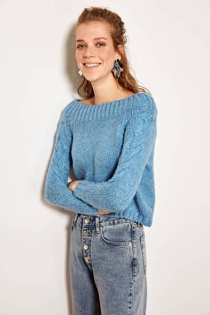 Trendyol כחול סרוג סוודר TOFAW19ZA0085