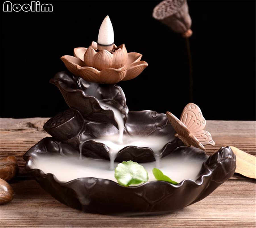 Creative Green Plant Burner Waterfall Incense Holder Lotus Backflow Censer Aroma Burner Chinese Culture Office Tea House Decor