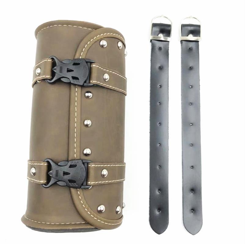 1Pc Retro Motorcycle Saddle Bags Fork Tool PU Leather Bag Luggage Handlebar Bag Tail Bags Roll Shape
