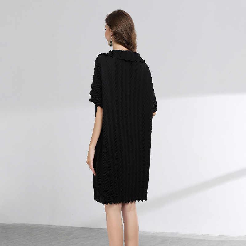 LANMREM 2019, летняя модная новая плиссированная одежда для женщин, отложной воротник, большие размеры, свободные платья с коротким рукавом для женщин, хит YH305