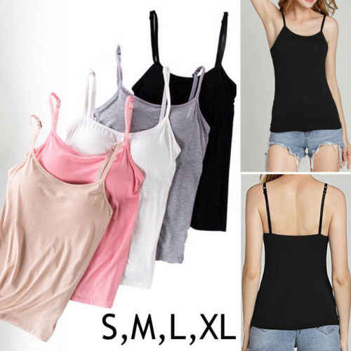 a3ce352d77 CAMI Camisole with Built in Shelf BRA Adjustable Spaghetti Strap Tank Top  S-XL Ladies