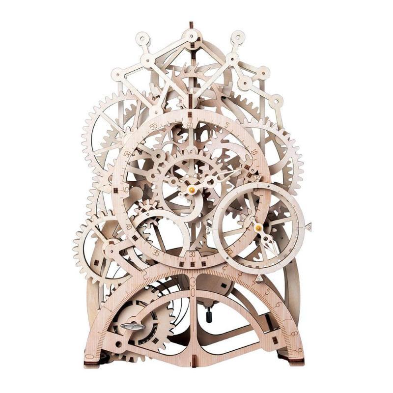 DIY Gear Drive Pendulum Clock by Clockwork 3D Wooden Model Building Kit Toy Learning Educational Puzzle